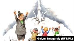 Запуск ракеты «Протон-М». Автор карикатуры - Галым Смагул.