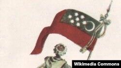 Один из вариантов флага Горской Республики (автор Халил-бек Мусаясул)