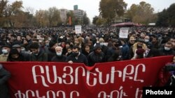 Protest la Erevan, capitala Armeniei, 5 decembrie 2020.