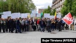 Protesta e punëtorëve në Prishtinë