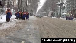 Душанбе под покровом снега