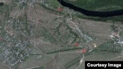 MH17 учагынын кыйроосуна байланыштуу спутниктен тартылган сүрөт.