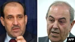 Prime Minister Nuri al-Maliki (left) and former Prime Minister Iyad Allawi are running close to even with 80 percent of the vote counted.