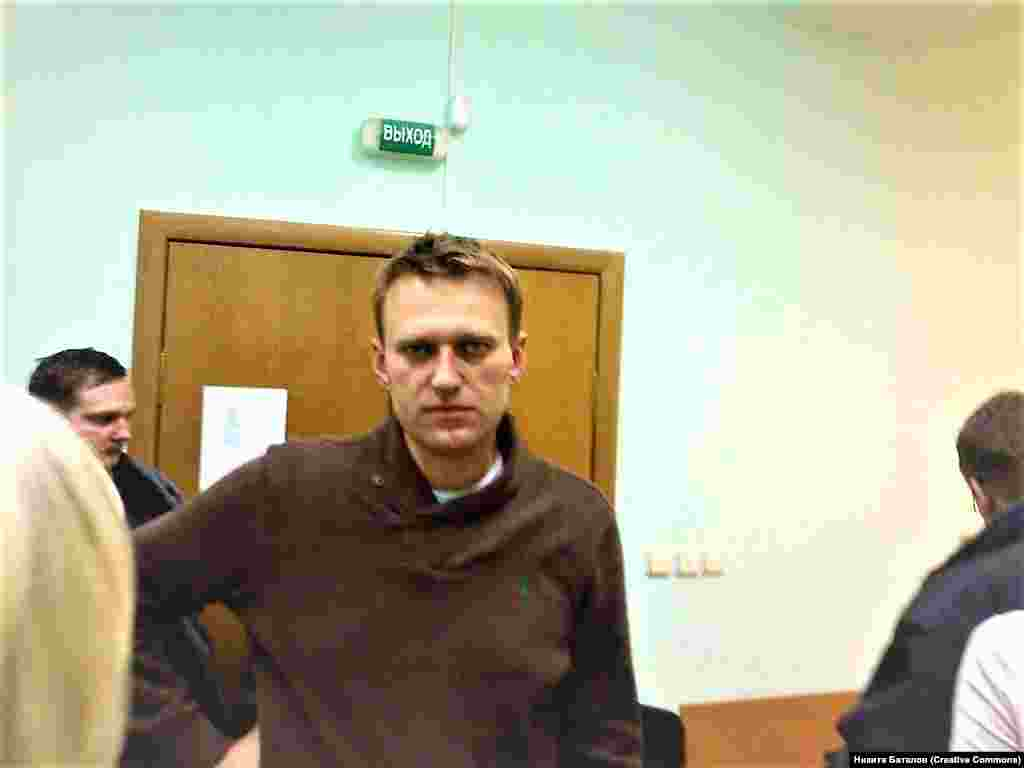 "Aleksei Navalny in court in December 2011 after his arrest during an unauthorized anti-government march in Moscow. Navalny was sentenced to 15 days detention for ""resisting law enforcement officers."" It was the first of what would later become a regular occurrence for the opposition figure."