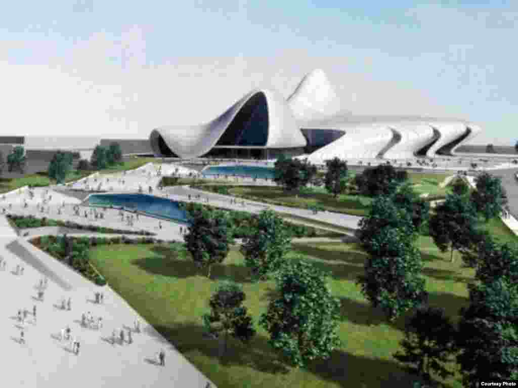 Azerbaijan -- Architect's illustration of the new Heidar Aliyev Cultural Center, now under construction in Baku. 17Mar2008
