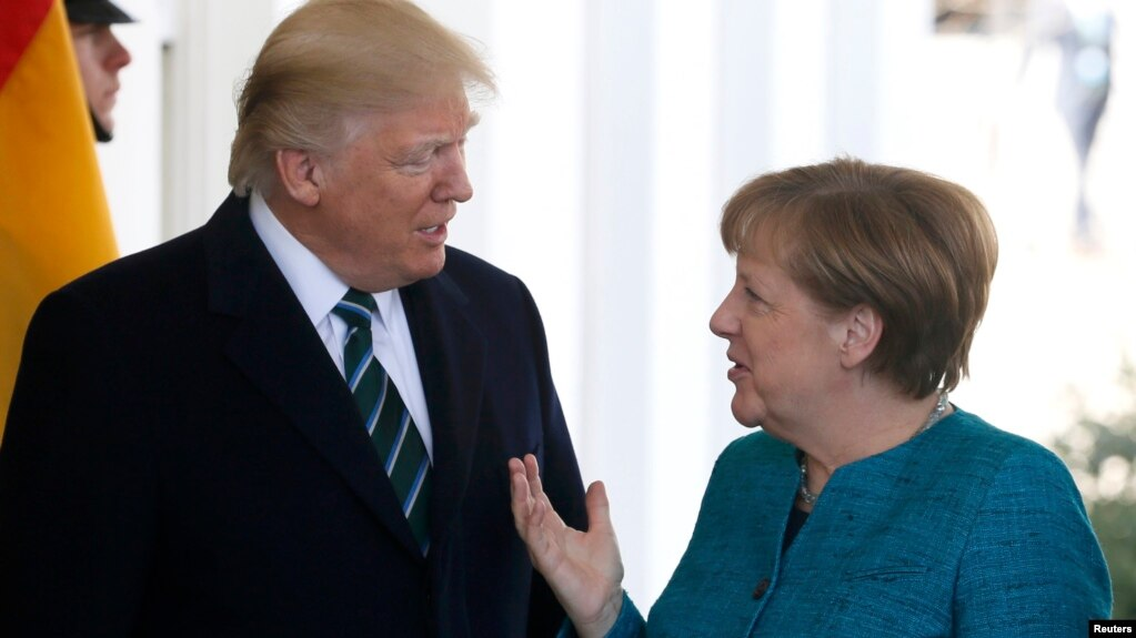 U.S. President Donald Trump with German Chancellor Angela Merkel at the White House in Washington in March.