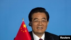 Қытай басшысы Ху Цзиньтао БРИК елдері саммитінде сөйлеп отыр. Санья, 14 сәуір 2011 жыл