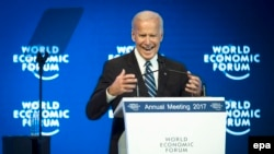 U.S. Vice President Joe Biden speaks in Davos on January 18.