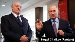Аляксандар Лукашэнка і Ўладзімір Пуцін у Сочы ў лютым 2019