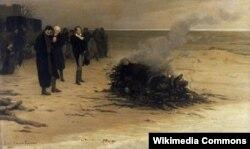 Şellinin nəşinin yandırılması. Louis Fournier-nin çəkdiyi rəsm (1889)