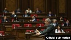 Armenia - Prime Minister Nikol Pashinian speaks during a session of the Armenian parliament, Yerevan, May 10, 2021.