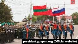 Militari ruși la parada de la Tiraspol, 9 mai 2018