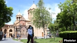 Armenia -- People outside churches in downtown Yerevan, May 12, 2020.