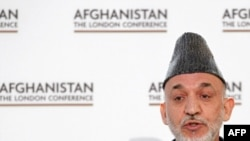 Afghan President Hamid Karzai makes his opening comments at the London conference.