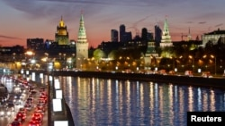 Russia -- A view of Moscow's Kremlin, Ministry of Foreign affairs and Moscow City business district, 18Oct2011