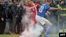 Италия-Сербия іріктеу матчынан көрініс. Генуя, 12 қазан 2010 жыл