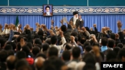 Iranian Supreme leader Ali Khamenei speaking during a meeting with Iranian workers in Tehran, Iran, 30 April 2018