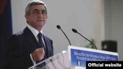 France - President Serzh Sarkisian speaks at an official reception in Marseille, 7Dec2011.