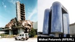 Sarajevo (zgrada Oslobođenja) prije 20 godina i danas