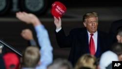 Președintele Donald Trump la un miting electoral pe aeroportul din Mosinee, Wisconsin, 17 septembrie 2020.