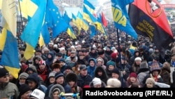 Tens of thousands of people turned out to demonstrate in the Ukrainian capital.