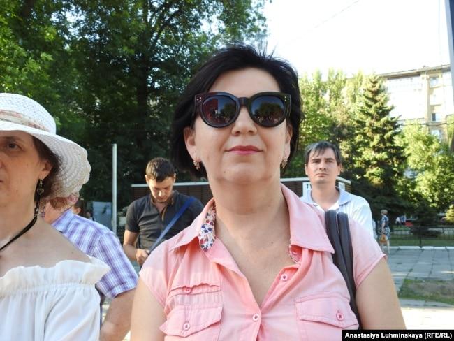 Светлана Юрьевна на митинге против пенсионной реформы в Саратове