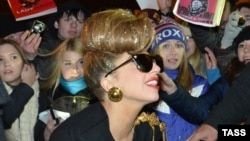 "American singer Lady Gaga arrives at Pulkovo Airport in St. Petersburg for the Russian leg of her ""Born This Way Ball"" tour."