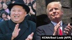 Kim Jong-un (solda) və Donald Trump