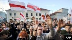 Pamje nga protesta në Minsk të Bjellorusisë