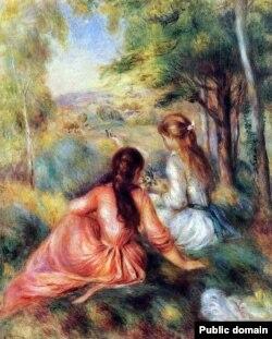 Агюст Рэнуар, «Дзьве дзяўчынкі на лузе» (1890)