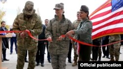Armenia - U.S. Brigadier General Dawne Deskins (C) and a senior Armenian military official inaugurate a newly renovated training center of the Armenian army, 31Oct2017.