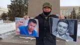 Kazakhstan - A resident of Uralsk Bekbolat Utebayev holds action in memory of the activist Dulat Agadil and his son Zhanbolat Agadil. West Kazakhstan region, 25Feb2021.