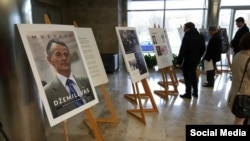 Litvaniya parlamentinde Mustafa Cemilevge bağışlanğan sergi