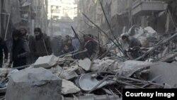 Алеппо шаарынын козголоңчулар колундагы ал-Шаар району. 4-февраль, 2016-жыл.
