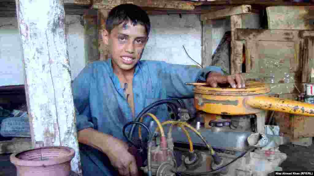 Bakht Alam, 13, from Ningolai in Pakistan's Swat district, wants to be a mechanic and hopes to be able to buy a bicycle soon.