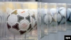 Ukraine -- The official match ball of the UEFA Euro 1984 and the following European soccer championships are displayed at the Olympiyskiy stadium in Kyiv, 02Dec2011