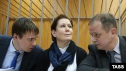 Наталія Шаріна зі своїми адвокатами в Міщанському суді Москви. Листопад 2016 року