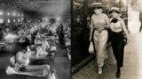 """Члены тренировочной армии студентов Вооруженных сил США в """"гриппозных масках"""" в октябре 1918 года, когда самая смертоносная пандемия в истории прошлого века была на пике."""