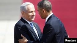 Премьер-министр Израиля Биньямин Нетаньяху и президент США Барак Обама в аэропорту Бен-Гурион. 20 марта 2013 года.