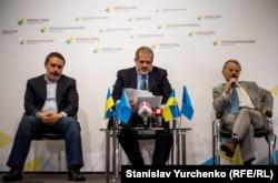 Пресс-конференция по блокаде Крыма. Ленур Ислямов, Рефат Чубаров, Мустафа Джемилев