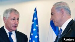 Премьер-министр Израиля Биньямин Нетаньяху на встрече с министром обороны США Чаком Хейглом
