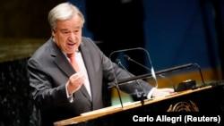 Shefi OKB-së, Antonio Guterres gjatë fjalimit në Asamblenë e Përgjithshme
