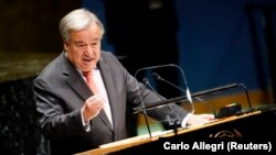 United Nations Secretary-General Antonio Guterres addresses the opening of the 74th session of the UN General Assembly in New York on September 24.