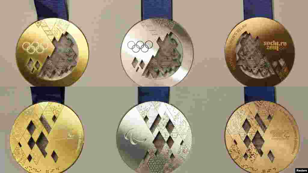 Russia unveiled its medals for the 2014 Winter Olympic Games in Sochi at a presentation in St. Petersburg. (Reuters/Alexander Demianchuk)