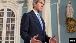 Госсекретарь Керри во время выступления в Госдепартаменте 29 января 2015 года