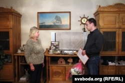 Сьвятлана Коржыч і журналіст Свабоды Алесь Пілецкі