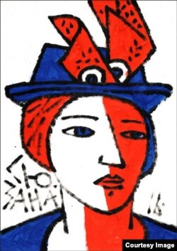 Адам Глобус, «Сюзана», 2016 год. Папера, акрыл 30×21 см