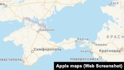 An Apple map's depiction of the Ukrainian peninsula of Crimea when viewed on a device inside Russia.