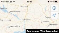 Rusiyada Apple Maps Krımı belə göstərir