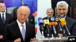 International Atomic Energy Agency chief Yukiya Amano with Iran's chief nuclear negotiator Said Jalili (file photo)